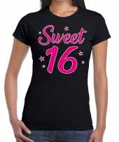 Sweet 16 cadeau t-shirt zwart dames