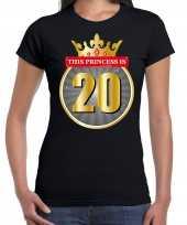 This princess is 20 verjaardag t-shirt zwart 20 jaar dames