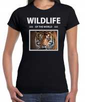 Tijger t-shirt dieren foto wildlife of the world zwart dames