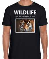 Tijger t-shirt dieren foto wildlife of the world zwart heren
