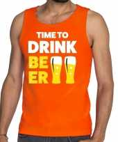 Time to drink beer tekst tanktop mouwloos shirt oranje heren