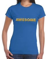 Toppers awesome goud glitter tekst t-shirt blauw dames