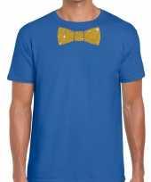 Toppers blauw fun t-shirt vlinderdas glitter goud heren