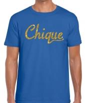 Toppers chique goud glitter tekst t-shirt blauw heren
