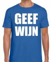 Toppers geef wijn heren t-shirt blauw