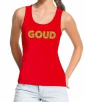 Toppers goud glitter tekst tanktop mouwloos shirt rood dames