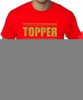 Toppers grote maten topper shirt rood gouden glitters heren