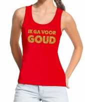 Toppers ik ga goud glitter tanktop mouwloos shirt rood dames