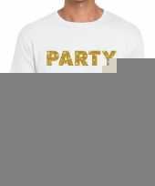 Toppers party goud glitter tekst t-shirt wit heren