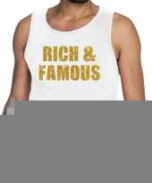 Toppers rich and famous glitter tanktop mouwloos shirt wit heren