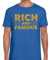 Toppers rich and famous goud glitter tekst t-shirt blauw heren