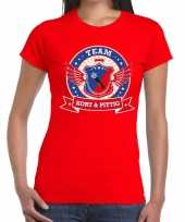 Toppers rood kort pittig team t-shirt dames