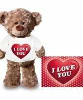 Valentijn valentijnskaart knuffelbeer 24 i love you hartje shirt