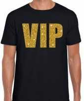 Vip tekst t-shirt zwart gouden glitter letters heren