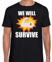 We will survive t-shirt crisis zwart heren