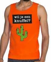 Wil je een knuffel tekst tanktop mouwloos shirt oranje heren