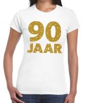 Wit negentig jaar verjaardag shirt dames gouden bedrukking