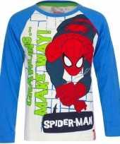 Wit spiderman shirt blauwe mouwen