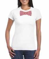 Wit t-shirt geblokte brabant strik dames