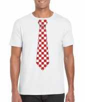 Wit t-shirt geblokte brabant stropdas heren