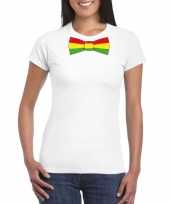 Wit t-shirt limburgse vlag strik dames
