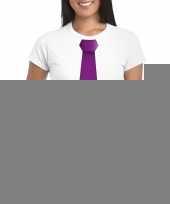 Wit t-shirt paarse stropdas dames