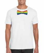Wit t-shirt regenboog vlag strikje heren