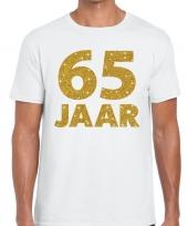 Wit vijfenzestig jaar verjaardag shirt heren gouden bedrukking
