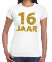 Wit zestien jaar verjaardag shirt dames gouden bedrukking