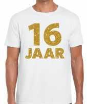 Wit zestien jaar verjaardag shirt heren gouden bedrukking
