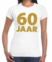 Wit zestig jaar verjaardag shirt dames gouden bedrukking