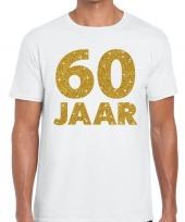 Wit zestig jaar verjaardag shirt heren gouden bedrukking