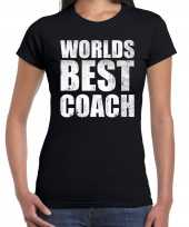Worlds best coach werelds beste coach cadeau t-shirt zwart dames