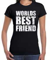 Worlds best friend cadeau t-shirt zwart dames