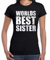 Worlds best sister cadeau t-shirt zwart dames