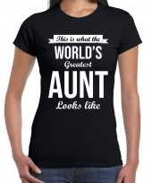 Worlds greatest aunt tante cadeau t-shirt zwart dames