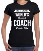 Worlds greatest coach cadeau t-shirt zwart dames