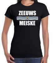Zeeuws meiske vlag zeeland t-shirts zeeuws dialect zwart dames