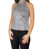 Zilveren glitter pailletten disco halter topje shirt dames