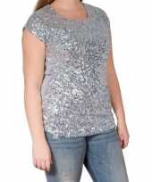 Zilveren glitter pailletten disco shirt dames l xl