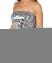 Zilveren glitter pailletten disco strapless topje shirt dames