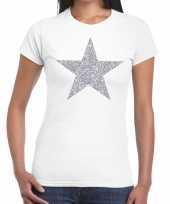 Zilveren ster glitter t-shirt wit dames