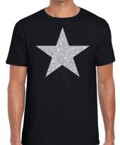 Zilveren ster glitter t-shirt zwart heren