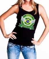 Zwart brazil drinking team tanktop mouwloos shirt dames