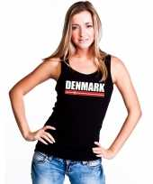 Zwart denemarken supporter singlet-shirt tanktop dames