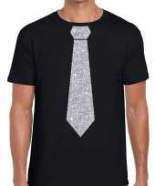 Zwart fun t-shirt stropdas glitter zilver heren