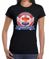 Zwart holland drinking team t-shirt dames