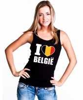 Zwart i love belgie fan singlet-shirt tanktop dames