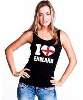 Zwart i love engeland fan singlet-shirt tanktop dames