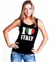 Zwart i love italie fan singlet-shirt tanktop dames